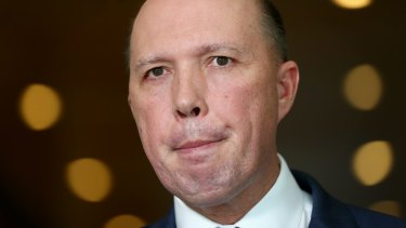Minister for Immigration and Border Protection Peter Dutton during a doorstop interview in Canberra over the citizenship changes.