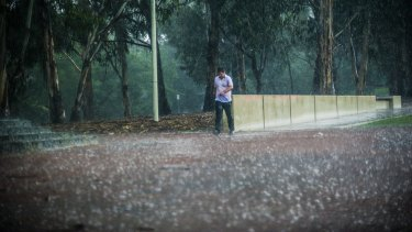 A man braves Canberra's wet weather Wednesday afternoon.