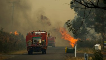 The fire at Widgiewa Road at Carwoola on Friday, February 17.