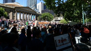 Several thousand protesters gathered outside the State Library of Victoria on Saturday afternoon.
