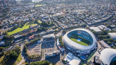 Allianz Stadium at Moore Park, on SCG Trust land.