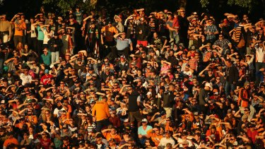 The crowd watch on during a match between the Wests Tigers and the Penrith Panthers at Leichhardt Oval.