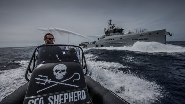 A Sea Shepherd volunteer runs launching drills ahead of activities to disrupt Japanese whalers in 2016.