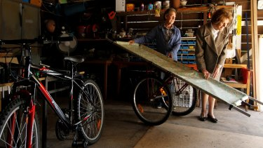 Pioneering: Joyce Conolly inspects one of the bicycle ambulances made by Garry Greinke for use in Myanmar.