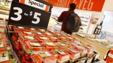 Strawberries for sale at a Coles store in Richmond, Melbourne, on Monday.