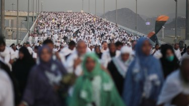 Hundreds of thousands of pilgrims make their way to perform the last rite of the Haj in Mina.