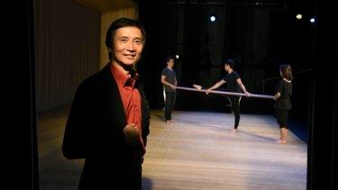 Mao's last dancer Li Cunxin on the set of <i>The Peasant Prince</i> at Monkey Baa Theatre.