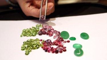 Myanmar jade and gems at a showroom in Yangon, Myanmar.
