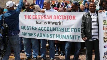 Australia's Eritrean community protest at Federation Square, November 2017.