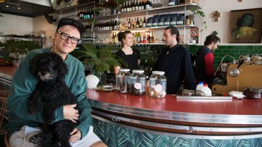 George Woodward (left), Georgie Esdaile and Ryan Butler at Southside Charmers in Redfern.