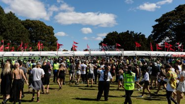 Thousands arrive for the Listen Out Dance Festival in Centennial Park.