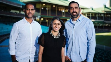 Go Foundation chief executive Shirley Chowdhary with co-founders Adam Goodes (right) and Michael O'Loughlin.