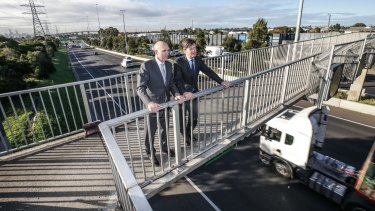 Luke Donnellan and Peter Sammut, Western Distributor Authority, in Yarraville in May.