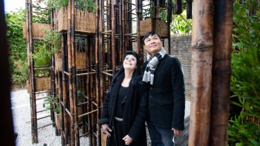 Vietnamese architect Vo Trong Nghia's Green Ladder pavilion, commissioned by arts patron Gene Sherman, is reminiscent of a forest.