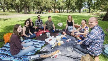 Laura Mcarthy celebrates her birthday with friends and a picnic in Edinburgh Gardens.