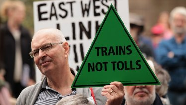 Not wanted: Protesters at a demonstration this month against the East West Link that three councils are challenging in the courts.