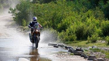 Making a splash: Toby Price during the Dakar Rally.