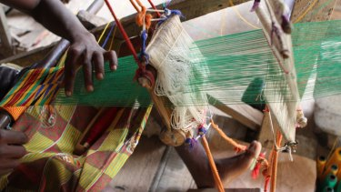 Makers in Ghana at work on the latest Yevu clothing collection.