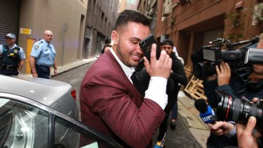 Salim Mehajer leaves Darling Harbour police station after allegedly assaulting a taxi driver.