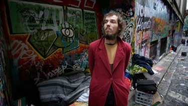 Tyson Daymond, a friend of Stu and one of the artists who lived in Hosier Lane before alcoves were boarded up last year.