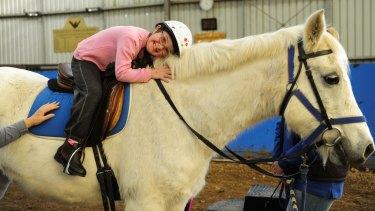 Sasha Mead, 8, of Murrumbateman, riding horse Gideon at Pegasus in Holt.