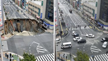The sinkhole, left, appeared on November 8. The road reopened a week later.