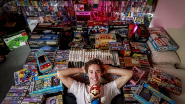 Sam Crowther shows off some of his huge Nintendo collection.