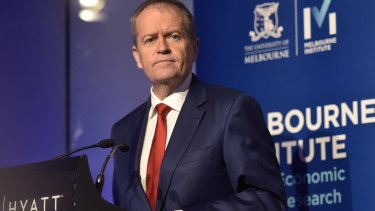 """Opposition Leader Bill Shorten's message at the Melbourne Institute was distorted through a """"blue-collar worker"""" lens, but was more effectively targeted than the PM's."""