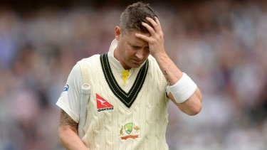 Australia's Michael Clarke leaves the field after being dismissed.