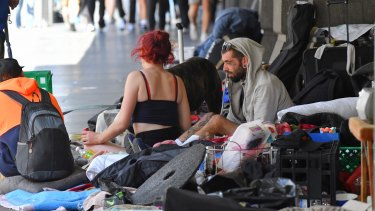 Homeless people at the camp near Flinders Street Station.