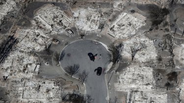 An aerial view shows the devastation of the Coffey Park neighbourhood, in Santa Rosa, California.