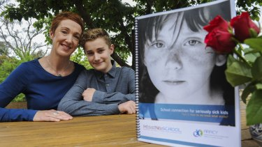 Co-founder of Missing School Inc, Megan Gilmour, at her home in Hawker with her son, Darcy, 15.