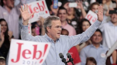 Republican US presidential candidate and former Florida Governor Jeb Bush formally announces his campaign for the 2016 Republican presidential nomination during a kickoff rally in Miami, Florida.