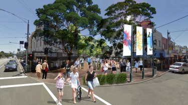 Artist's impression of the proposed pedestrian plaza in Camberwell Road, north of the Camberwell Junction.
