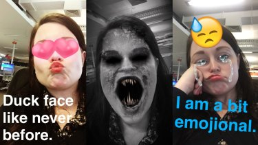 Some of the filters available in Snapchat's new Lenses feature.
