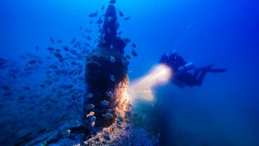 Deep blue: Maritime archaeologist Matt Carter diving on the wreck of the Japanese midget submarine off Bungan Head.