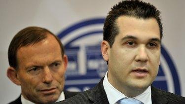 Assistant Treasurer Michael Sukkar, with former prime minister Tony Abbott.