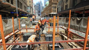 George Street construction zone for Sydney light rail project between Market and King Street.