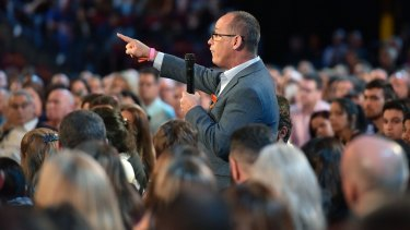 Fred Guttenberg asks Republican Senator Marco Rubio a question during the town hall meeting.