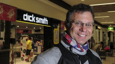 Dick Smith stores have gone into voluntary administration. Outside the Majura Park store is long time customer, Ray Arthurs, 50 of Conder, who hopes the stores survive.