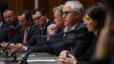 Prime Minister Malcolm Turnbull with premiers and chief ministers at COAG on Thursday.