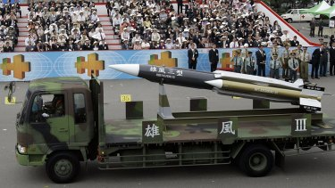 A model of Taiwan's indigenous Hsiung Feng III missile is displayed during the R.O.C., Republic of China, National Day in Taipei, Taiwan. Taiwan's Navy said that one of its 500-ton patrol boats based in southern Taiwan launched the supersonic anti-ship Hsiung Feng III missile by mistake.