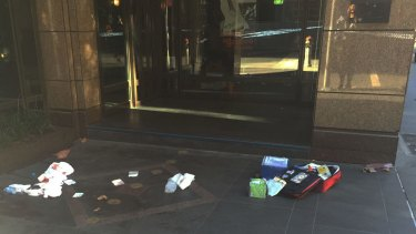 The scene of the stabbing on Collins Street on Friday morning.