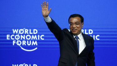 Confident: Chinese Premier Li Keqiang at the World Economic Forum in January.