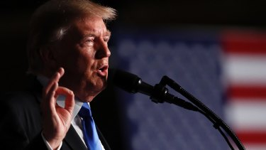 US President Donald Trump speaks at Fort Myer about Afghanistan.