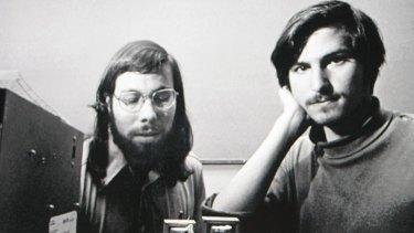 Steve Wozniak and Steve Jobs with the Apple I computer in 1976.
