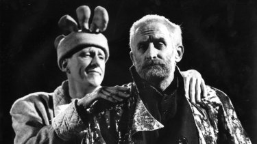 Rush (left) plays the Fool to John Gaden's King Lear in a 1988 version of the play.