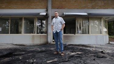 Australian Christian Lobby managing director Lyle Shelton outside the bombed headquarters.