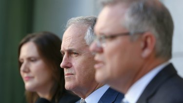 Treasurer Scott Morrison (right) with Prime Minister Malcolm Turnbull and Minister for Small Business and Assistant Treasurer Kelly O'Dwyer.