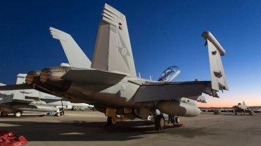 An EA-18G Growler on the tarmac at Nellis Air Force Base, Nevada during Exercise Red Flag.